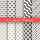 10 testes padrões sem emenda do vetor da forma do coração Preto e Foto de Stock Royalty Free