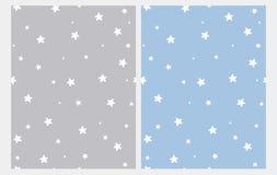 Testes padrões sem emenda do vetor das estrelas brancas bonitos Gray Starry Background azul e claro pastel ilustração stock