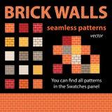 Testes padrões sem emenda do vetor das paredes de tijolo Imagens de Stock