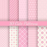 10 testes padrões sem emenda do vetor diferente bonito Cor-de-rosa Fotografia de Stock Royalty Free