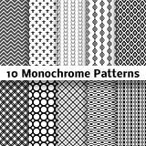 Testes padrões sem emenda do vetor diferente do Monochrome Fotos de Stock