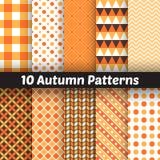 10 testes padrões sem emenda do vetor do outono infinito Fotos de Stock