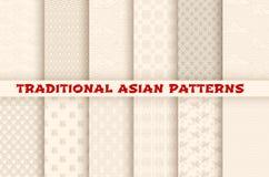 Testes padrões sem emenda do vetor japonês chinês asiático Imagens de Stock Royalty Free