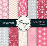 10 testes padrões sem emenda do vetor Tema floral Foto de Stock Royalty Free