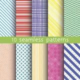 10 testes padrões sem emenda do vetor Texturas para o papel de parede, suficiências, fundo do página da web Ilustração Stock