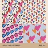 4 testes padrões sem emenda dos corações no fundo ilustração stock