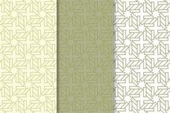 Testes padrões sem emenda geométricos do verde azeitona e os brancos Foto de Stock