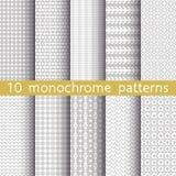 10 testes padrões sem emenda monocromáticos Foto de Stock