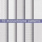 10 testes padrões sem emenda monocromáticos Imagens de Stock