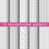 10 testes padrões sem emenda monocromáticos para o fundo universal Cinza a Foto de Stock