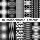 10 testes padrões sem emenda monocromáticos para o fundo universal preto Imagem de Stock