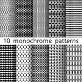 10 testes padrões sem emenda monocromáticos para o fundo universal preto Fotografia de Stock