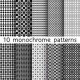 10 testes padrões sem emenda monocromáticos para o fundo universal preto Fotografia de Stock Royalty Free