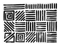 Testes padrões tirados mão Cursos geométricos abstratos da escova Vetor Fotos de Stock