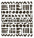 Testes padrões tirados mão Cursos geométricos abstratos da escova Vetor Projetado ao estilo do boho Fotos de Stock Royalty Free