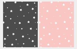 Testes padr?es sem emenda do vetor das estrelas brancas bonitos Rosa e Gray Starry Background escuro ilustração stock