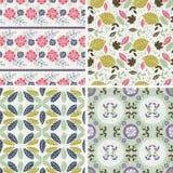 Testes padrões florais e fundos sem emenda Imprimir na tela Fotografia de Stock