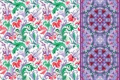 Testes padrões florais sem emenda ajustados O vintage floresce o vetor dos fundos e das beiras Fotografia de Stock