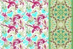 Testes padrões florais sem emenda ajustados O vintage floresce o vetor dos fundos e das beiras Fotografia de Stock Royalty Free