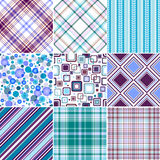 Testes padrões sem emenda azuis-lilas ajustados Fotografia de Stock