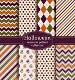 Testes padrões sem emenda de Halloween Grupo do vetor Imagem de Stock Royalty Free