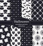 Testes padrões sem emenda de Halloween Grupo do vetor Fotografia de Stock Royalty Free
