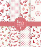 Testes padrões sem emenda do bebê. Grupo do vetor. Fotografia de Stock