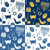 Testes padrões sem emenda do Hanukkah Imagem de Stock Royalty Free