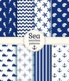 Testes padrões sem emenda do mar. Coleção do vetor. Imagem de Stock
