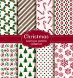 Testes padrões sem emenda do Natal Grupo do vetor Imagens de Stock Royalty Free