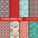 8 testes padrões sem emenda - grupo retro floral Foto de Stock