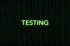 Testes, palavra-chave do scrum, em um fundo verde da matriz fotos de stock royalty free