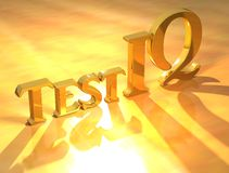 Testez le texte d'or de Q.I. Photographie stock libre de droits