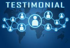Testimonial. Concept on blue background with world map and social icons Stock Image