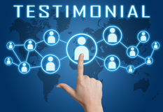 Testimonial. Concept with hand pressing social icons on blue world map background Stock Photography