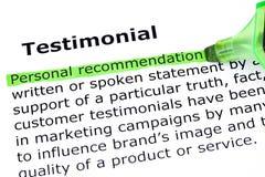 Testimonial Definition Stock Photography
