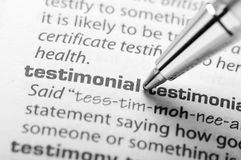 Testimonial - Dictionary Series Royalty Free Stock Photo