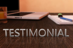 Testimonial. Letters on wooden desk with laptop computer and a notebook. 3d render illustration Stock Images