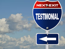 Testimonial road sign Royalty Free Stock Photos
