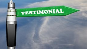 Testimonial road sign with flowing clouds Stock Photo