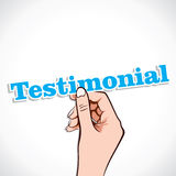 Testimonial word in hand Stock Photo