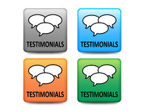 Testimonials buttons. In four colors stock illustration