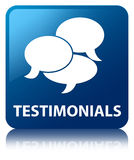 Testimonials (comments icon) blue square button Royalty Free Stock Image