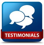 Testimonials (comments icon) blue square button red ribbon in mi Royalty Free Stock Image
