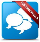 Testimonials (comments icon) cyan blue square button red ribbon Royalty Free Stock Photo