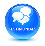 Testimonials (comments icon) glassy cyan blue round button Royalty Free Stock Photography