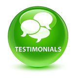 Testimonials (comments icon) glassy green round button Stock Images