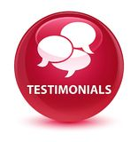 Testimonials (comments icon) glassy pink round button Stock Photos