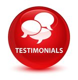 Testimonials (comments icon) glassy red round button Stock Photo