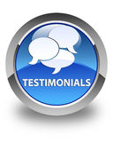 Testimonials (comments icon) glossy blue round button Royalty Free Stock Photo